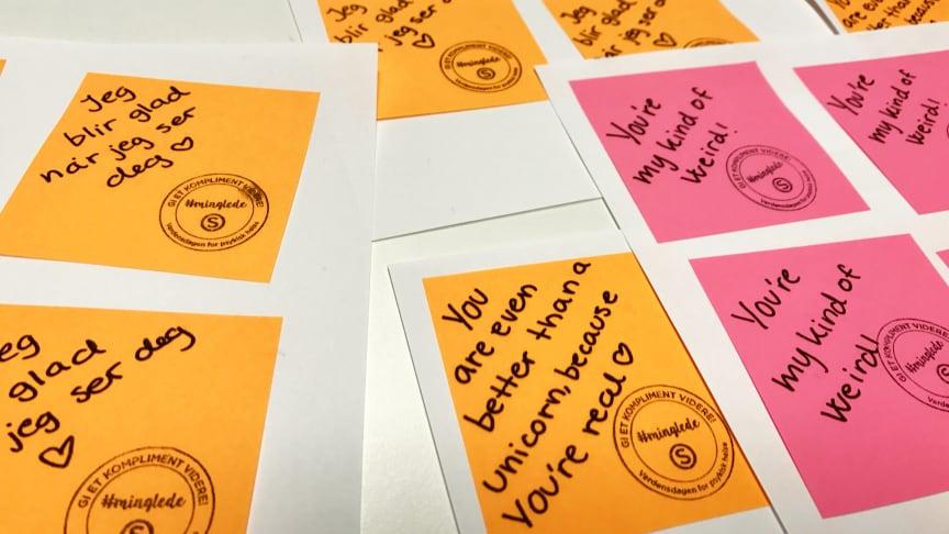 SiO deler ut 2300 håndskrevne komplimenter sammen med lærestedene UiO, BI og HiOA for å markere Verdensdagen for psykisk helse den 10. oktober