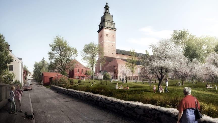 Visualisering af AARTs vinderforslag til udviklingen af Strängnäs domkirke.