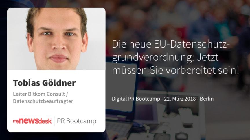 Tobias Göldner, Datenschutzbeauftragter und Ihr Experte für die neue EU-DSGVO beim Digital PR Bootcamp 2018 von mynewsdesk.
