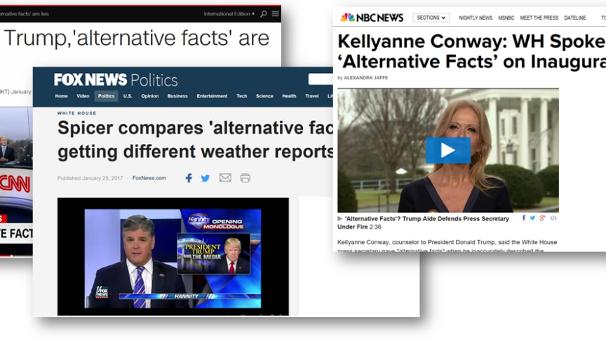 "Some of the headlines surrounding the issue of ""alternative facts"" (screen shots)."
