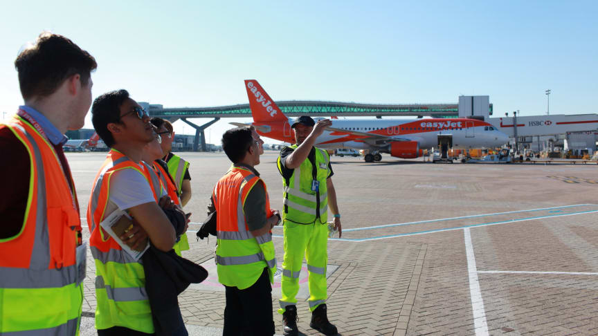 Students on the airfield at Gatwick