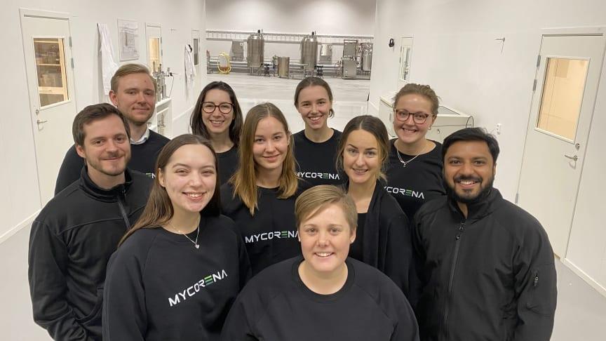Mycorena teamet i den nya anläggningen i Gamlestadens Fabriker, Göteborg