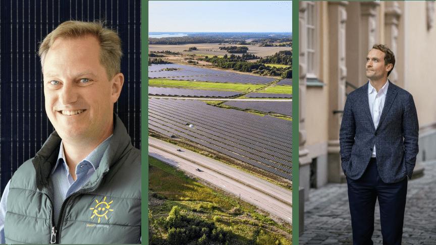 Johan Skördare, vd EnergiEngagemang, bolagets nyligen etablerade solpark utanför Strängnäs, samt Johan Bergström, vd AxSol