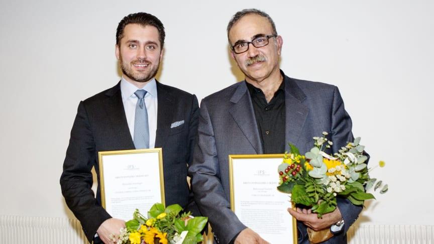 Hamdija Jusufagic, grundare och vd för System Verification, Årets Pionjär i Skåne 2017, tillsammans med Mohamad Godeh, Nablus Mejeri, Årets Nybyggare i Skåne 2017.