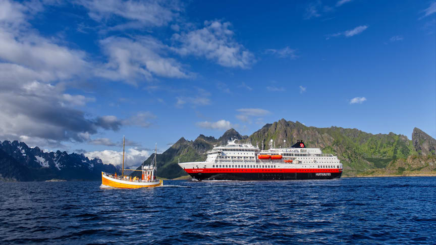 BATTERY-HYBRID POWERED: MS Otto Sverdrup offers year-round expedition cruises along the spectacular Norwegian coastline, and is Hurtigruten Expeditions' third battery-hybrid powered ship. Photo: AGURTXANE CONCELLON/Hurtigruten Expeditions