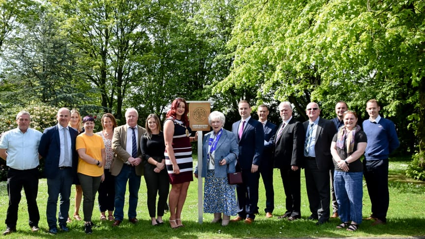 The outgoing Mayor, Councillors and special guests were in attendance at Shaftesbury Park in Carrickfergus as a plaque was unveiled on May 15 under The Fields in Trust Active Spaces Programme.