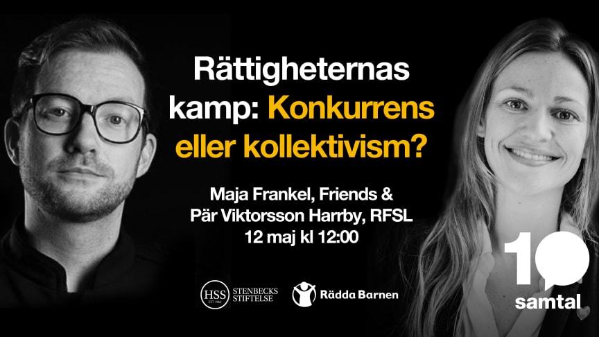 Pär Viktorsson Harrby, generalsekreterare på RFSL och Maja Frankel, generalsekreterare på Stiftelsen Friends deltar i det första samtalet.