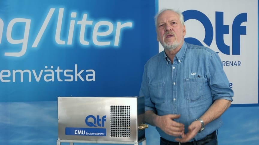 Björn Carlsson, teknisk chef på QTF,  presenterar den nya CMU-enheten på digitala Nordbygg
