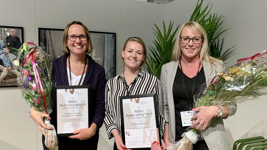 Vinnarna av Visma Accounting Awards 2019. Från vänster: Elisabeth Svensson, Ekonomibyrån i Halmstad och Maria Tengvall och Sara Jacobsson, Win Win Ekonomi AB i Stockholm.