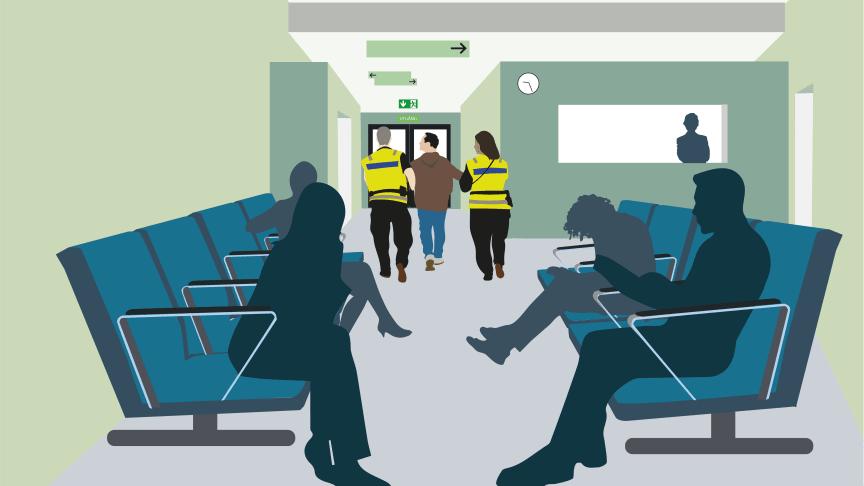 Alla regioner har sina egna sätt att hantera hot och våld. Illustration: Jens Klevje.