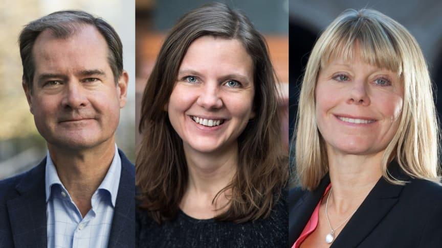 Mårten Lilja, vice vd Riksbyggen, Elin Olsson, statssekreterare, och Karin Lexén, generalsekreterare, Naturskyddsföreningen.