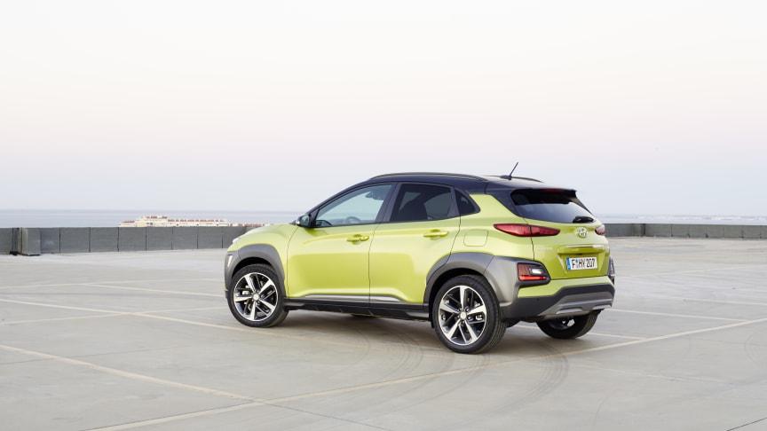 KONA fra Hyundai fikk full pott i Euro NCAP sin sikkerhetstest. Til sommeren kommr den som elbil.