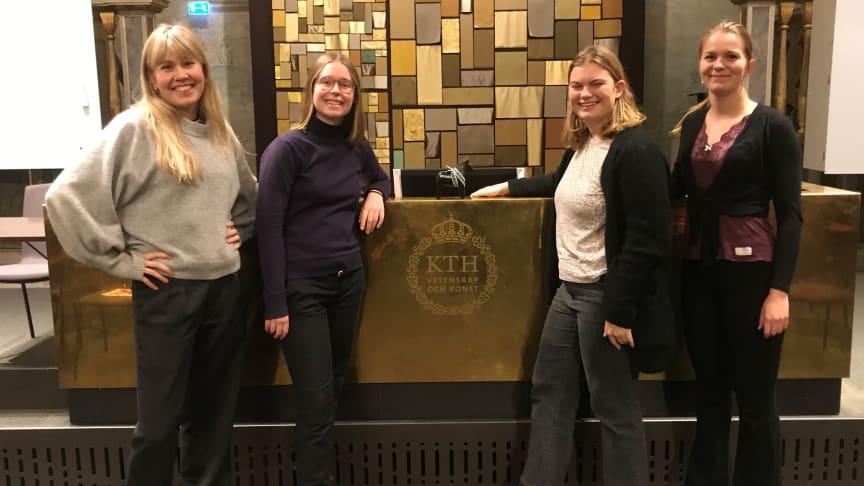 Alma Berggren Ek, Jenny Ekman, Ella Espling och Ellinor Danielsson, studenter på KTH som tog hem vinsten i utmaningen LiveHackLab med FM Mattsson.