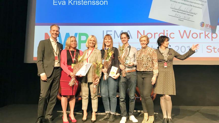 Victor Mannerholm-Hammar - IFMA, Christine Norberg-Francille  & Eva Kristensson - Sodexo, Elin Vestberg & Morten Diesen - Lingio, Karin Adelsköld - prisutdelare, Karin Ståhl - IFMA