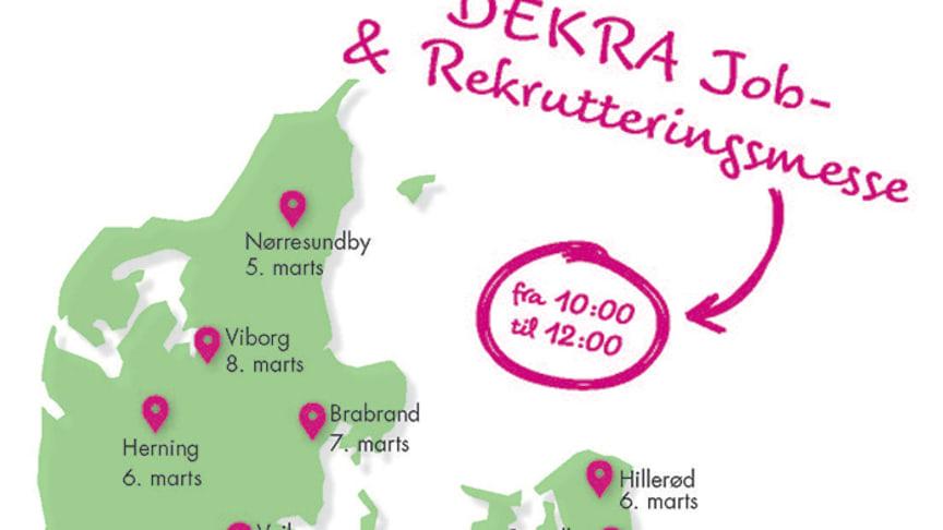 I marts åbnes dørene i 10 byer til gratis job- og rekrutteringsmesse. www.dekra-jobmesse.dk