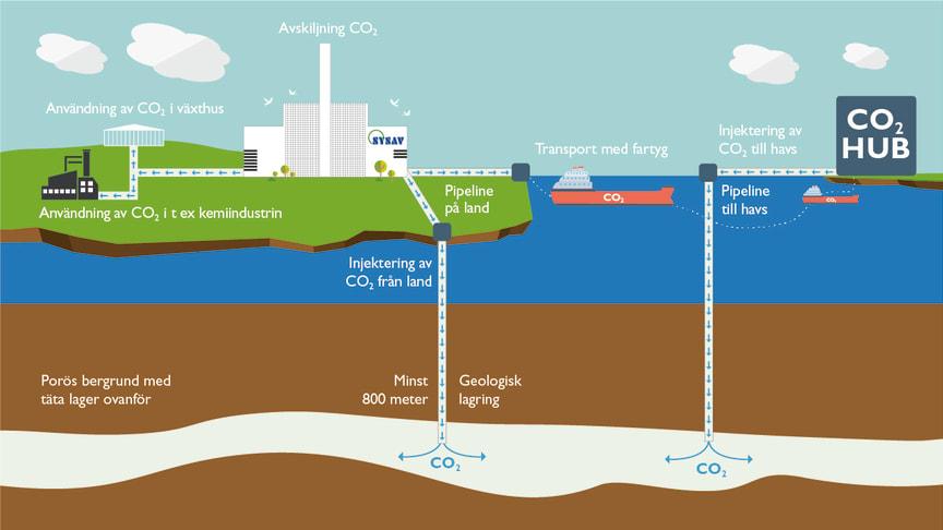CCS - flödesbild med alternativ för transport, användning och lagring av koldioxid.