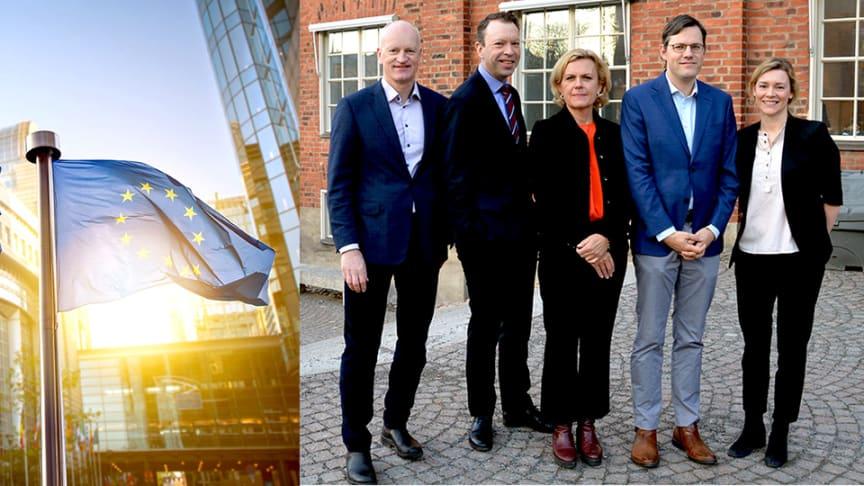Från höger: Lars Zetterberg, Thomas Hörnfeldt, Katarina Areskoug Mascarenhas, Milan Elkerbout och Lovisa Källmark.
