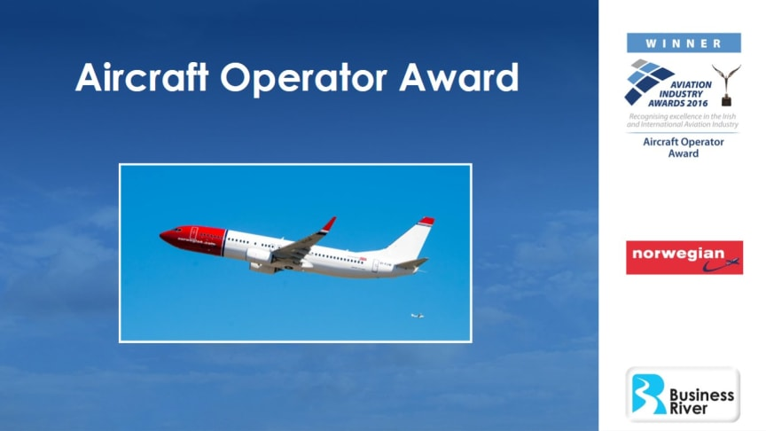 Norwegian Air International wins Aircraft Operator Award at Aviation Industry Awards 2016