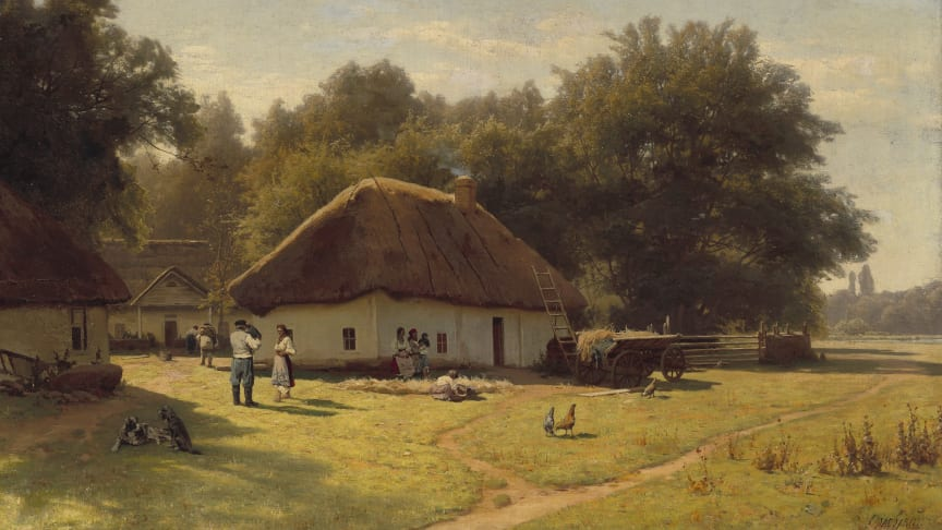 Vladimir Donatovich Orlovsky: Russian landscape with peasants at a farmer's house on the outskirts of a forest.