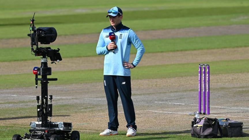 England Men's white-ball captain Eoin Morgan with Sky Sports' Buggy Cam earlier this summer.