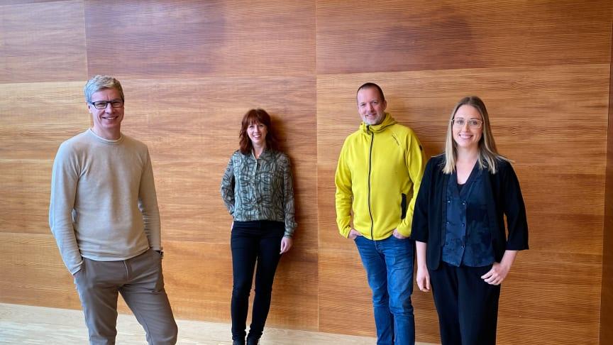Mattias Berglund, vd Ávki, Cora Karlsson, verksamhetsledare Vallje, Marcus Olsson, verksamhetsledare Go Business och Amanda Karlsson, innovationsledare och affärscoach Go Business.