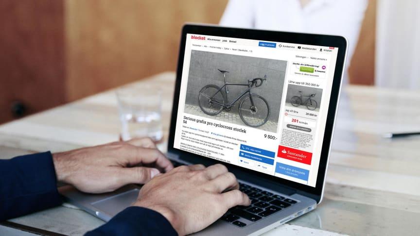 """Cyklar är det mest eftersökta i kategorin """"fritid och hobby"""" på Blocket de senaste 30 dagarna."""