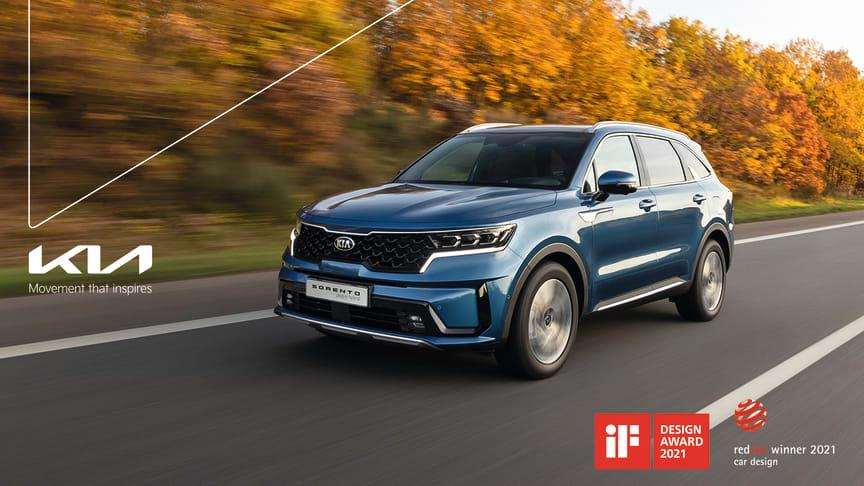 Den nye elektrificerede generation af Kias flagskibs-SUV, Sorento, vinder to prestigefyldte designpriser.