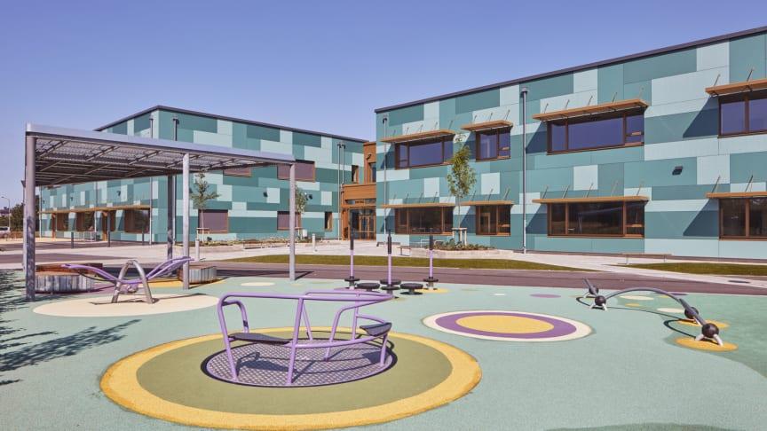 Glänningeskolan i Laholm som är nominerad till Årets Bygge 2020