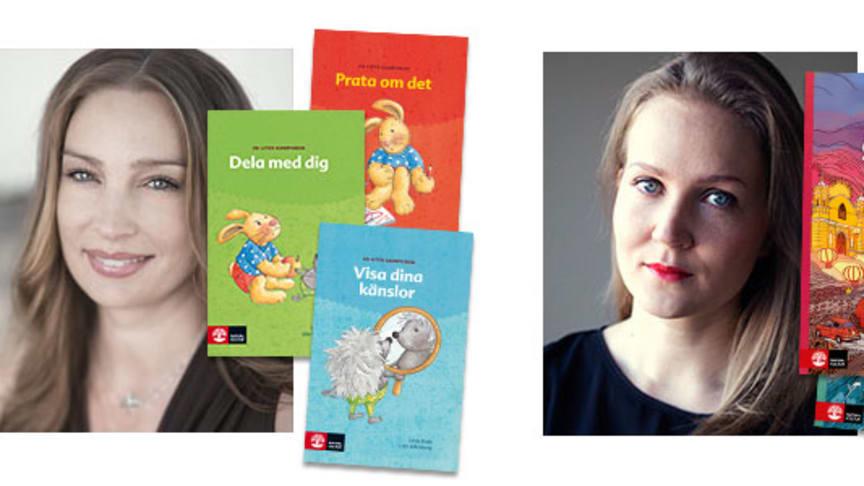 Linda Palm är bland annat författare till Kompis-böckerna för förskolan. Katja Roselli debuterar med Dos semanas en julio, ett läromedel i spanska för högstadiet.