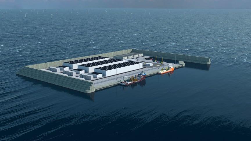 Foto: Modelbillede af energiøen i Nordsøen. Energistyrelsen.