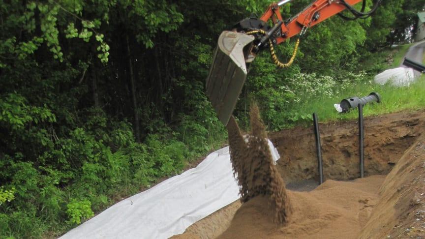 Sand fylls i markbädd