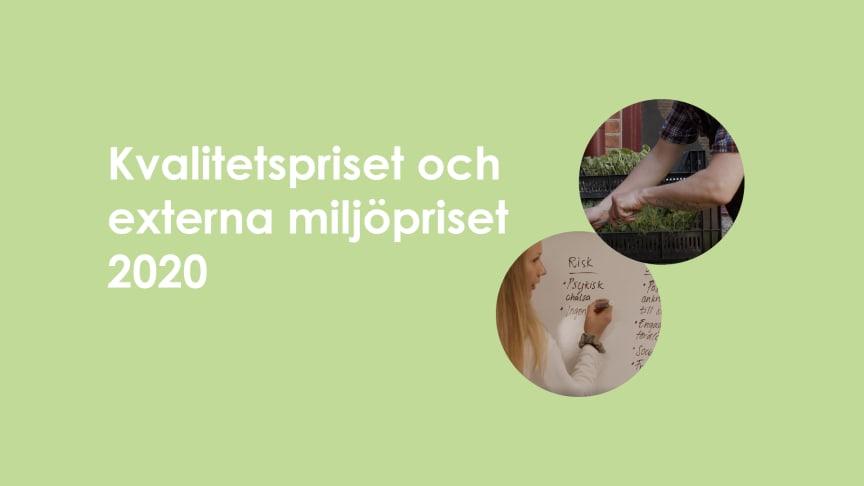 Kvalitetspriset gick till Socialkontor Vivalla och Miljöpriset till Anders Johnsson, Slyteviken mat AB.