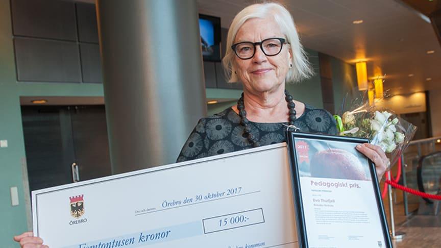 Eva Thurfjell efter prisutdelningen i Conventum Kongress. Foto: Örebro kommun.
