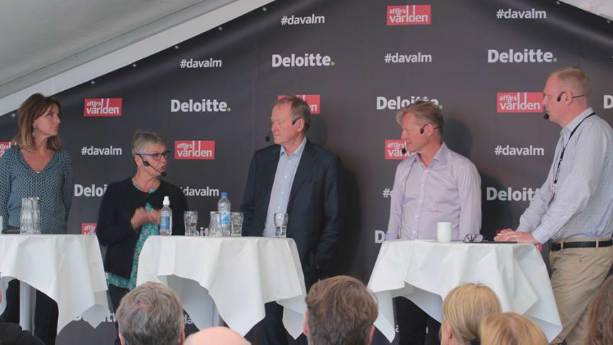 Maria Borelius, journalist och entreprenör, Maud Olofsson, styrelseproffs, Leif Östling, ordförande på Svenskt Näringsliv och Johan Bygge, ordförande EQT Asien i panelen hos Deloitte och Affärsvärlden i Almedalen.