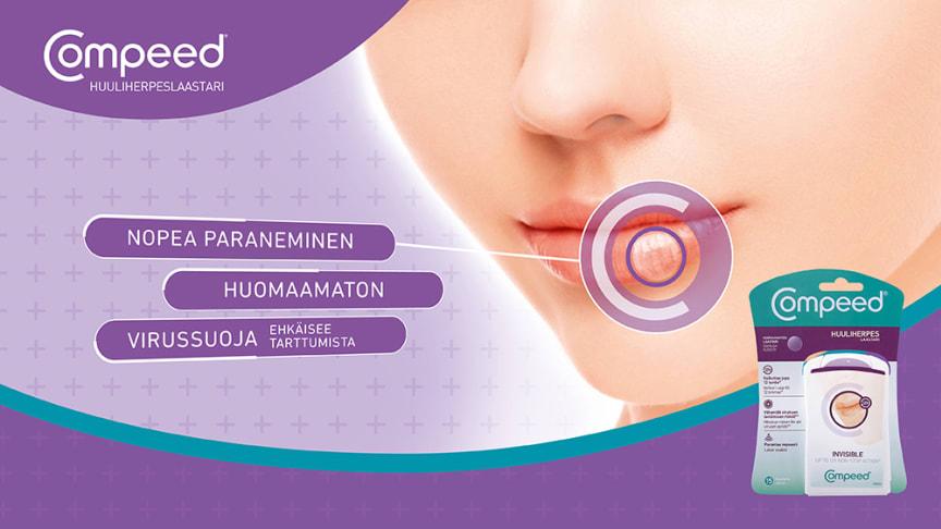 Huomaamaton Compeed® Huuliherpeslaastari parantaa nopeasti.