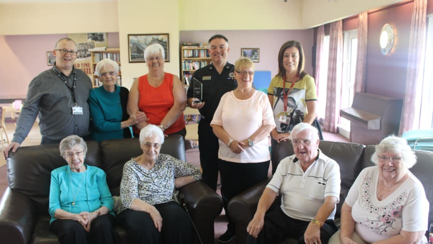 Hawthorn Sheltered Housing Residents with SFRS Area Manager for Glasgow George McGrandles and SFRS Officer Fiona Herriot (seconded to ng homes) and Sheltered Housing Support Officer Chris Quail.