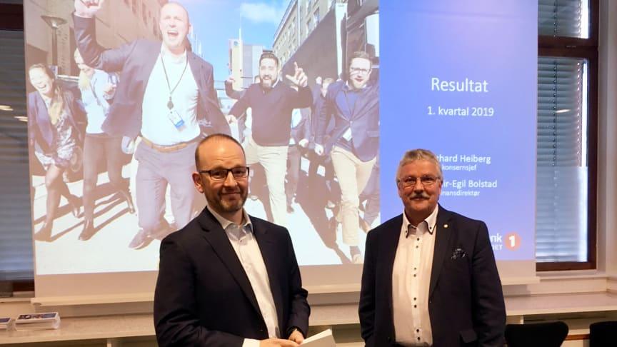 Finansdirektør Geir-Egil Bolstad og konsernsjef Richard Heiberg legger fram resultatet for første kvartal 2019.
