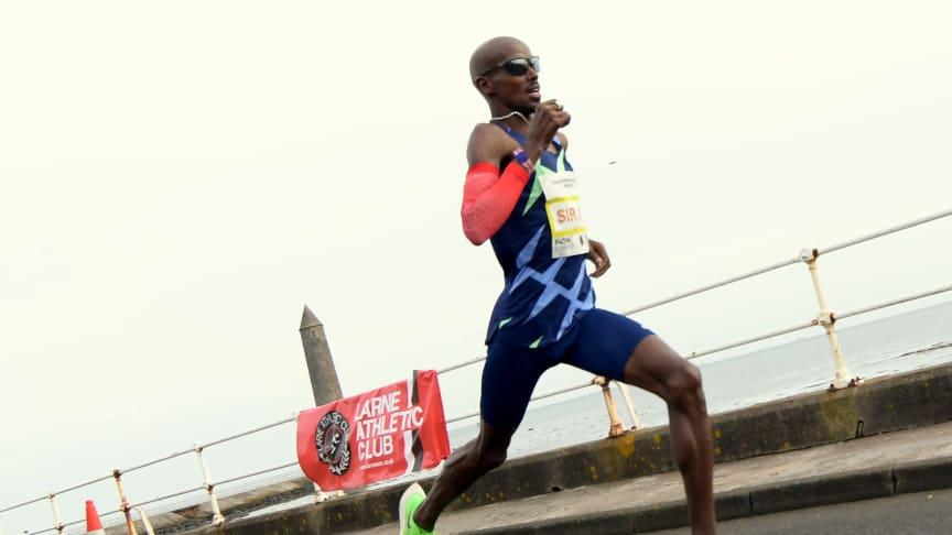 Sir Mo Farah in action at last year's Antrim Coast Half Marathon.