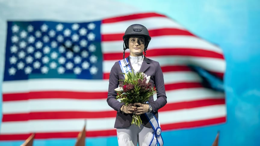 Winner of the Sweden H&M Grand Prix 2019 - Jessica Springsteen, USA. Photo credit: Roland Thunholm/Sweden International Horse Show