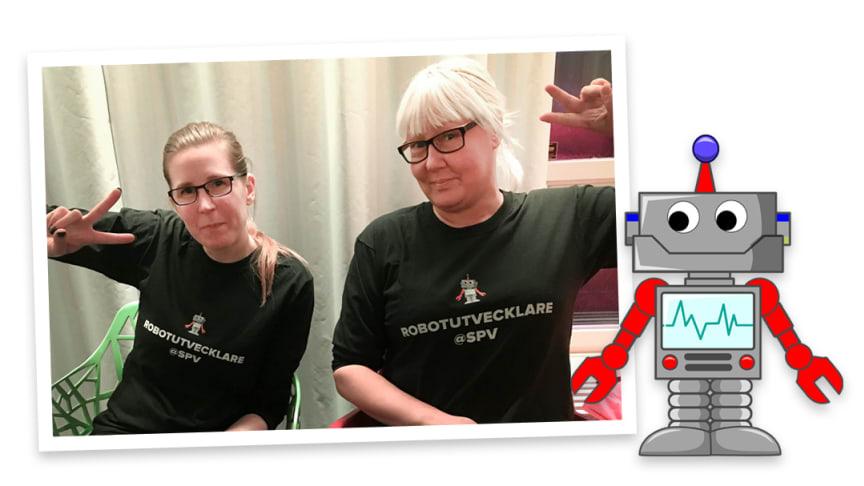 Fanny Faxby och Joanna Koponen blev SPV:s första robotutvecklare och har arbetat med att utveckla tjänstepensionsroboten Tjälle.