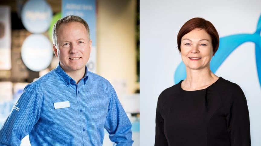 Fredrik Uhrbom, Sverigechef på Clas Ohlson och Ulrika Steg, chef för Telenors butiker och kundservice