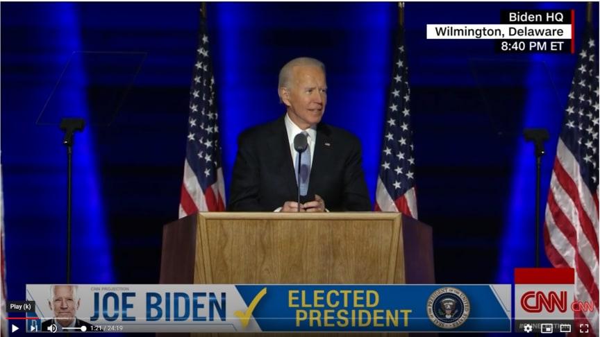 President Elect Joe Biden addressing the national after election victory, CNN