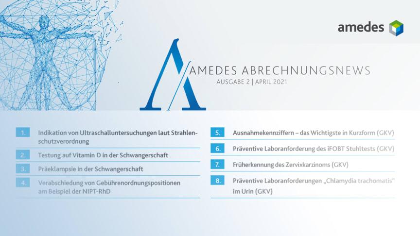 Neuer amedes Abrechungsnewsletter - Schwerpunkt Gynäkologie
