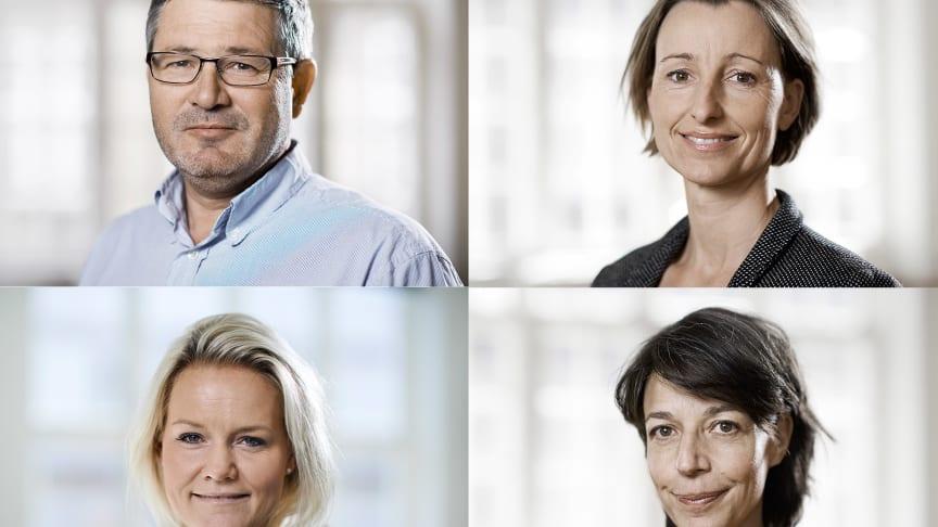 Øverst: Direktør Søren Kaare-Andersen og chef for socialområdet Sine Egede. Nederst: Chefrådgiver Susanne Dahl og chef for kulturområdet Mette Marcus