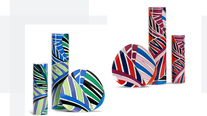 The two colourways of the Rosenthal Emilio Pucci Decor Palm Leaves: Red-Blue and Green-Blue.