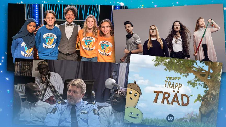 UR:s program Retorikmatchen, Min samiska historia, Det goda landet och Tripp Trapp Träd är nominerad till årets Kristallen-gala.