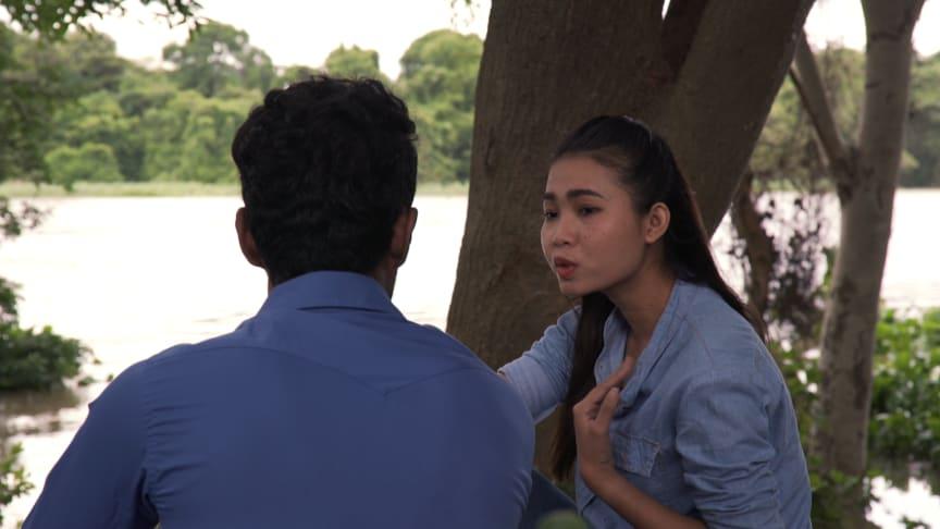Bild från filmat material i utbildningen för thailändska arbetare