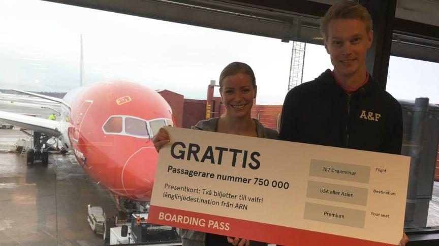 750 000 passagerare har flugit med Norwegians långlinjer på Stockholm Arlanda