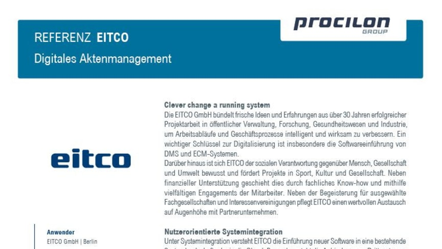 procilon Referenzblatt | EITCO - Integration procilon ERV-Software in SIGUV DMS