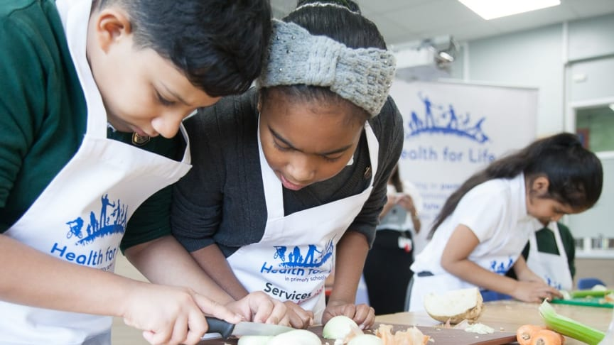 Hundreds of pupils from primary schools in Birmingham took part in the city's first ever Health for Life 'cookathon' with guidance from award-winning chef, Marcus Bean.